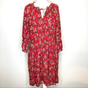 NWT! Suzanne Betro smock detail dress size XL red